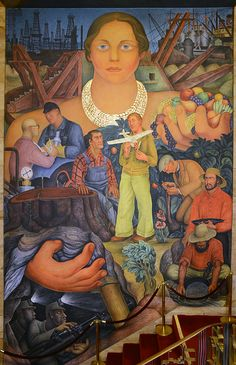 Diego Rivera - San Francisco Mural Arts - Riches of California 1931 Location: 155 Sansome St, Financial District Diego Rivera Art, Diego Rivera Frida Kahlo, Mural Painting, Mural Art, Paintings, Tempera, Fresco, Frida And Diego, Statues