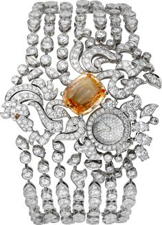CARTIER High Jewelry visible hour unicorn décor watch Small model, rhodiumized 18K white gold, sapphire, diamonds