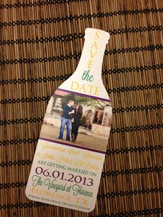 Photo Wine Bottle Save the Date Deposit. Fun way to showcase the theme of your winery wedding. Send your Save the Dates about six months prior to the wedding ceremony.  www.casalarga.com/weddings stationary by alisamariedesigns