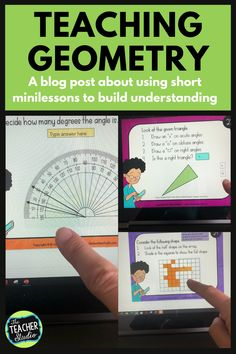 """Teaching geometry can be tricky! There is a TON of math vocabulary and a lot of """"rules"""" to remember. This blog post gives great suggestions on how to use task cards to break instruction into short, meaningful minilessons. Whether you are teaching in person or virtually, we know that short minilessons are the most effective. Check out the post for more! #geometry #elementarygeometry #geometrylessons #CCSS #protractorlessons #symmetrylessons #anglelessons #fourthgrademath Geometry Lessons, Teaching Geometry, Math Lessons, Teaching Tips, Teaching Math, Standards For Mathematical Practice, Math Talk, Math Vocabulary, Fourth Grade Math"""