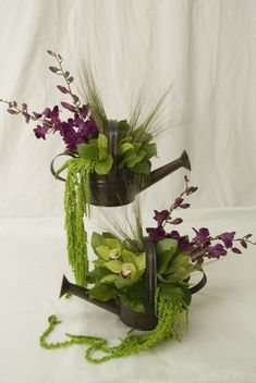 Flowers in a Watering Can Centerpiece