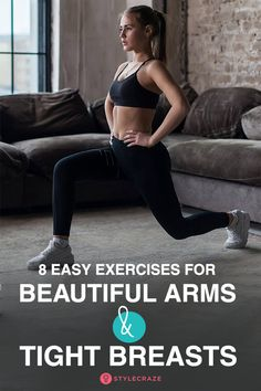 8 Easy Exercises For Beautiful Arms And Tight Breasts Gym Workout Tips, Fitness Workout For Women, Health And Fitness Tips, Fitness Goals, Bed Workout, Workout Videos, Yoga Fitness, Thigh Toning Exercises, Easy At Home Workouts