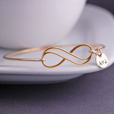 Personalized Gold Infinity Bangle Bracelet by georgiedesigns