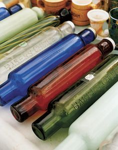Glass Rolling Pins: Designed to be filled with ice water, these glass rolling pins were a premium offered by Baker's Choice flour in the 1940s and '50s.