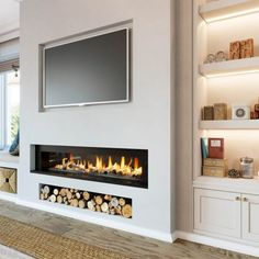 Fireplace Feature Wall, Feature Wall Living Room, Living Room Decor Fireplace, Fireplace Tv Wall, Fireplace Built Ins, New Living Room, Fireplace Design, Fireplace Ideas, Living Room Electric Fireplace