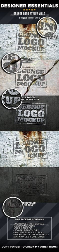 5 Grunge Logo Mockups Vol.1 - Logo Product Mock-Ups, #Mock-Ups Download here: https://graphicriver.net/item/5-grunge-logo-mockups-vol1/19290223?ref=suz_562geid