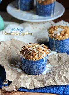 Gooey Cinnamon Muffins.  The smell of these baking is amazing!  Such a great fall breakfast treat.