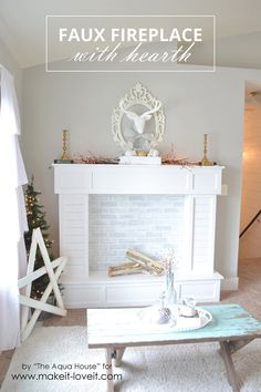 Make a FAUX FIREPLACE WITH HEARTH...that looks absolutely real! | via Make It…
