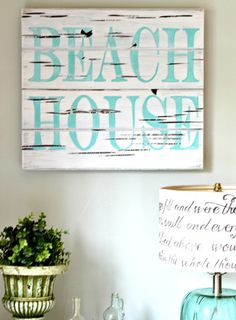 Beach House Wood Sign - Aimee Weaver Designs