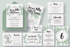 Eucalyptus Wedding Invitation Suite by Knotted Design on @creativemarket