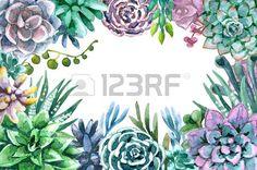 succulent: Hand gezeichnet Aquarell-Illustration. Blumenelemente für die Dekoration. Rectangle Rahmen von Sukkulenten mit Platz für Text.