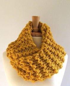 Mustard Yellow Extra Long Chunky Knit Infinity Cowl Scarf by LaurasLovelyKnits on Etsy, $32.00