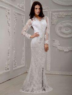 White long sleeve backless prom dress 2016-2017 » B2B Fashion
