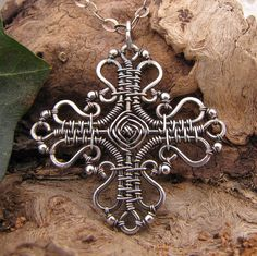 god's eye cross necklace~handmade wire wrapped sterling silver cross pendant with chain by GRJ