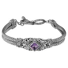 Handmade Sterling Silver 'Cawi Motif' Amethyst Bracelet (Indonesia)