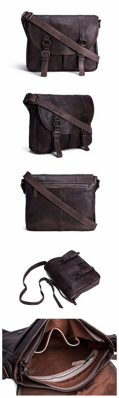 Handmade Vegetable Tanned Leather Men's Messenger Bag, Crossbody Bag, Satchel Bag