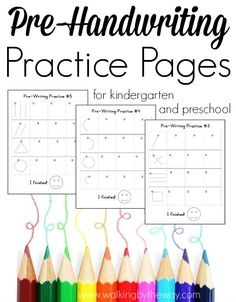 FREE Pre-Handwriting Practice Pages - Fun stuff for the kids! - Print these FREE Pre-Handwriting Practice Pages to help your preschool, kindergarten, or special ne - Preschool At Home, Preschool Kindergarten, Preschool Learning, Free Preschool, Preschool Curriculum Free, Learning Activities, Teaching Resources, Preschool Assessment, Preschool Alphabet