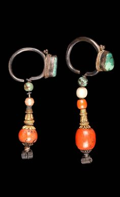 Tibet (Xizang Autonomous Region) | Earrings; silver, coral, turquoise, glass bead, agate and pearl. | ca. late 19th century // ©Quai Branly Museum. 71.1931.57.74.1-2