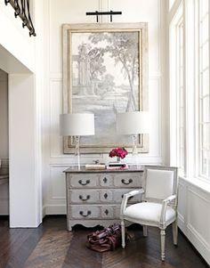 railing, art, chair, walls, windows