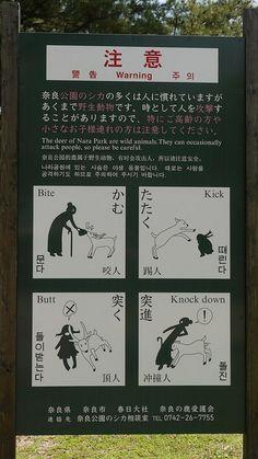 Japanese sign at Nara's deer park