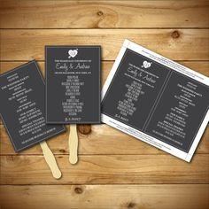Printable Wedding Program Template - Chalk Style Fan Program - Dark Grey