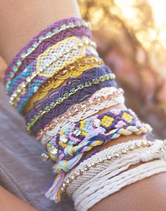 Natural Life Macrame Friendship Bracelets come in these great colors with rhinestones!