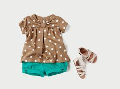 Love. Zara Kids. Girls Polka Dot Top, Turquoise Shorts & White Sandals