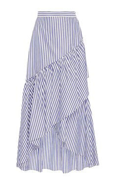 This **MDS Stripes** Ruffled Pencil Skirt features a banded waist and cascading, asymmetrical ruffles in a maxi length silhouette. Full Skirt Outfit, Jean Skirt Outfits, Blouse And Skirt, Dress Skirt, Nice Clothes For Men, Skirt Fashion, Fashion Outfits, Sewing Blouses, Zara