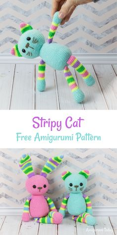 Crochet cat pattern Get your crochet hook ready for this easy Stripy Cat Amigurumi Pattern designed especially for beginners! The stripy cat amigurumi is a perfect addition to Crochet Amigurumi, Crochet Bear, Cute Crochet, Crochet Crafts, Crochet Dolls, Easy Crochet, Crochet Projects, Crochet Animals, Crochet Birds