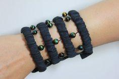 Beaded Travel Party Wrist Purse -Black Wrist wallet-Wristlet-Cuff-Bracelet-Salsa-Zipp