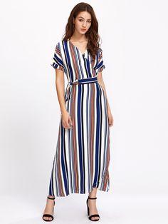 a92a39039eb Shop Multi-Stripe V Neckline Wrap Dress online. SheIn offers Multi-Stripe V