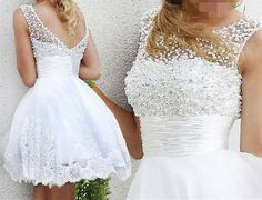 2017 White Lace up Pearls Wedding Dresses Edaier Knee Length Brides Sexy Simple Lace Tulle Princess Lovely Bridal Party Gowns