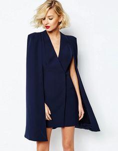Mega cool Lavish Alice Split Back Cape Dress - Navy Lavish Alice Shift Kjoler til Damer i dejlige materialer