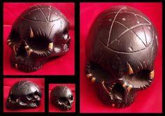 HALLOWEEN SKULL Skull Artwork, Dark Gothic, Halloween Skull, Dark Art, Hand Carved, Clock, Carving, Sculpture, Stone
