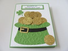 Patricks Day cards Your place to buy and sell all things handmade Happy St Patricks Day, Saint Patricks, Diy St Patricks Day Cards, Punch Art Cards, St Patrick's Day Crafts, Embossed Cards, Cricut Cards, St Paddys Day, Pot Of Gold