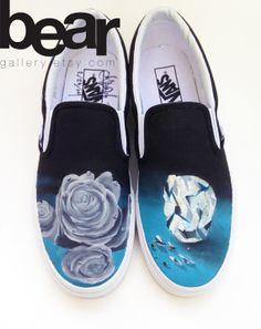 Custom Vans Hand Painted Shoes- Blue October