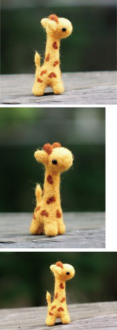 Baby giraffes ❤ Needle felting is my new favorite thing. Tiny & so adorable! ❤