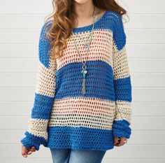 Crochet slouchy stripy jumper PDF pattern by ImmediateMediaStore