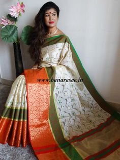 Banarasee Cotton Silk Mix Saree with Zari Work Skirt Border-Off White