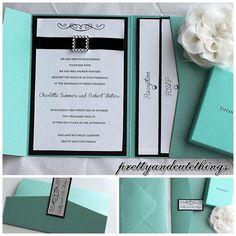 TIFFANY CO SHIMMER WEDDING INVITATIONS DIY POCKET CARDS ENVELOPES INVITES