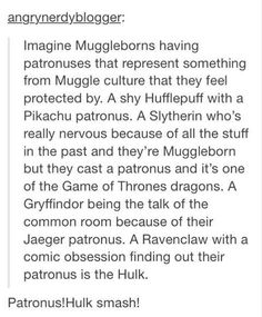 So awesome. LOL it would be great if someone cast a patronus and out pops Twilight Sparkle.
