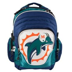 NFL Miami Dolphins Premium Backpack by Littlearth. $39.00. Officially licensed product in team color with blown out team logo. Made of durable sportech polyester. Comfortable padded straps and breathable mesh back padding. Large center pocket with inner padded laptop sleeve, organizer pocket, and mesh side pockets. Includes league keychain. It's all about the features with Littlearth's Premium Backpack.  Littlearth's Premium Backpacks are perfect for the college-age...