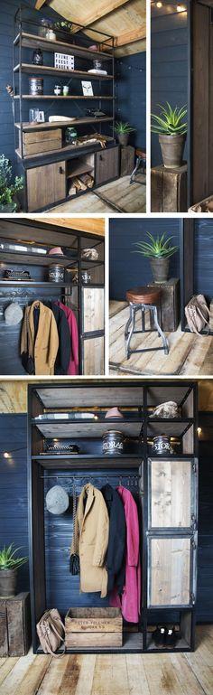 Metalen meubels met hout | Industriële boekenkast en industriële garderobekast #interieur #industrieel #interieurinspiratie