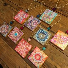 Making Things with Art - Stephanie Corfee Holiday Ornaments, Holiday Gifts, Metallic Gold Paint, Doodles Zentangles, Mini Canvas, Mini Paintings, Mixed Media Collage, Art Club, Flower Art