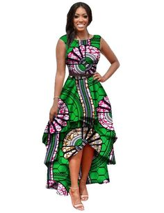 2016 African Clothing for Women Print Ankara Dress Traditional Clothing Customized Cascading Ruffle Dress Dashiki Hot Sale WY447-in Dresses from Women's Clothing & Accessories on Aliexpress.com | Alibaba Group