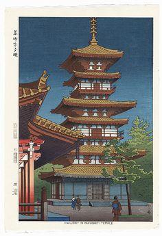 Twilight in Yakushiji Temple, 1953 by Takeji Asano (1900 - 1999); Japanese woodblock print. ukiyoe japan decoration antique fineart home decor collectible japanese woodblock print handmade home art beautiful decorative etching illustration traditional woodcut pagoda