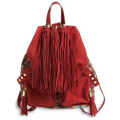 Sassy Tassels Backpack (3.355 ARS) ❤ liked on Polyvore featuring bags, backpacks, purses, red, accessories, women, leather zip backpack, draw string backpack, leather backpack and pocket backpack