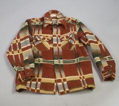 Vintage Mens Woolrich Wool Southwestern Jacket Coat / Large