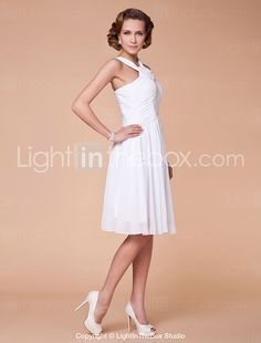 A-line Straps Knee-length Chiffon Mother of the Bride Dress - GBP £ 92.28