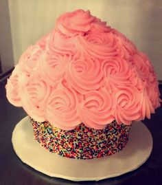 Rainbow Sprinkle Giant Cupcake Cake